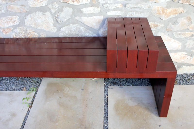 Outdoor Bench with Sliding Table